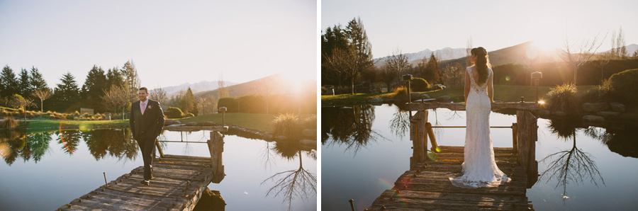 Gorgeous sunset wedding photos from this Queenstown wedding by Wanaka wedding photographer Alpine Image Company.