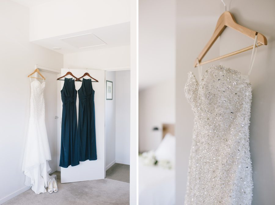 A wanaka bride's stunning bridal gowns hanging up before the big day, captured by Alpine Image Company
