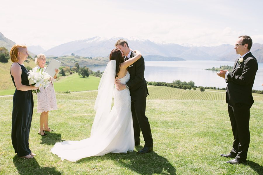 The kiss!! Alice and Gareth complete their Wanaka Wedding in style at The Rippon Hall, captured by Alpine Image Company.