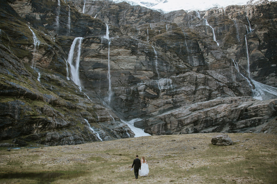 Waterfalls and glaciers on your queenstown wedding day