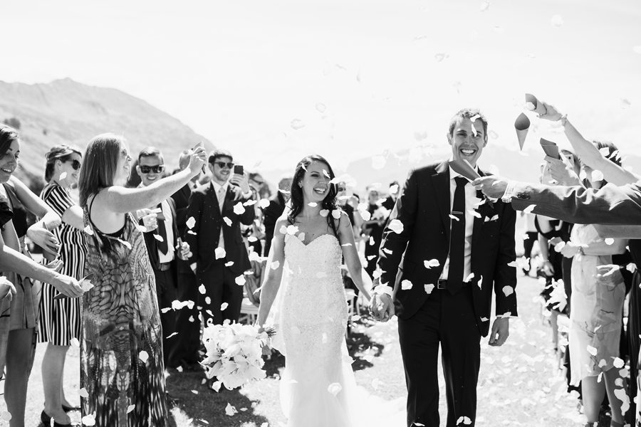 Alpine Image Company captured this beautiful shot of Alice and Gareth at their Wanaka Wedding, walking down the aisle.