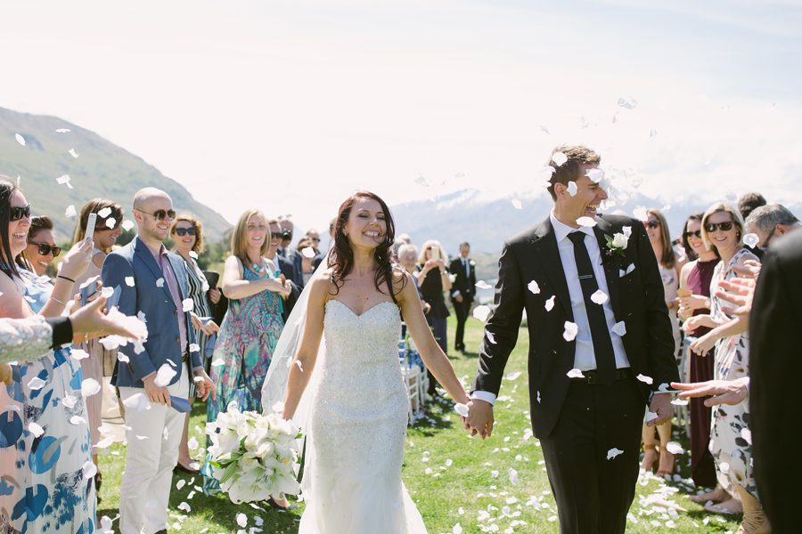 Here are Alice and Gareth walking down the aisle of their Wanaka Wedding, captured by Alpine Image Company