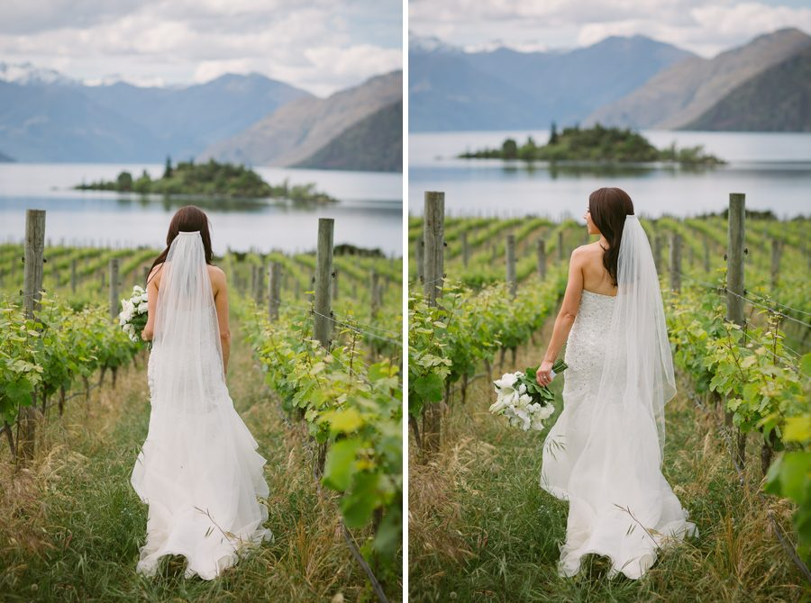 Alice looking gorgeous amoung the vines at Rippon Vineyard at her Wanaka Wedding, with photography by Alpine Image Company
