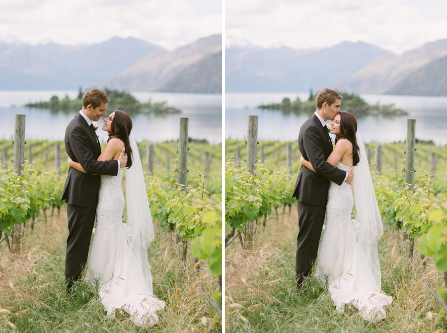 Alice and Gareth looking so sweet amoung the vines at Rippon Vineyard at her Wanaka Wedding, with photography by Alpine Image Company