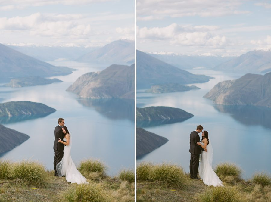 Alice and Gareth at their Wanaka wedding up on Mount Roy with photography by Alpine Image Company