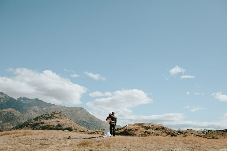 Queenstown hills and a freshly marries couple