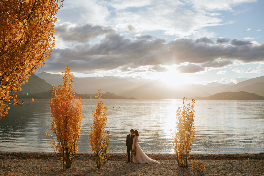 Jamie and Eric in the last of the autumn sunlight on their Wanaka pre wedding shoot.