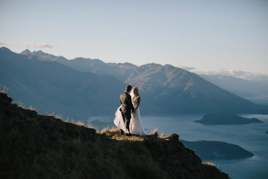 A stunning wedding photo of Rachael and Mike's Wanaka wedding taken at Coromandel Peak, Mount Roy by Wanaka wedding photographers, Alpine Image Company.
