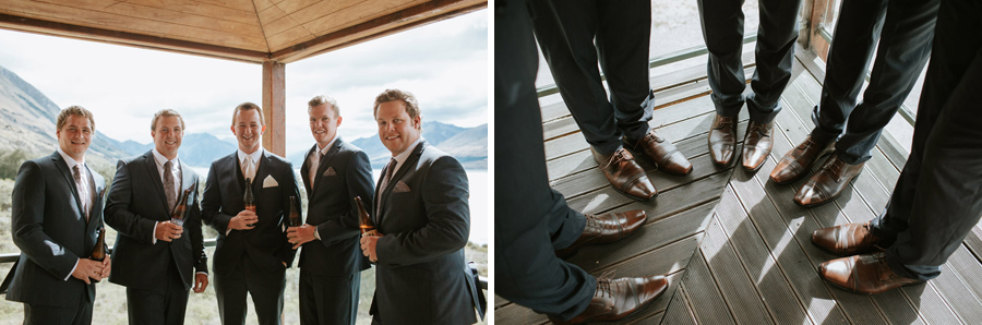 We just love taking photos of the Boys on the wedding day - photographed by Lake Ohau wedding photographers, Alpine Image Company.