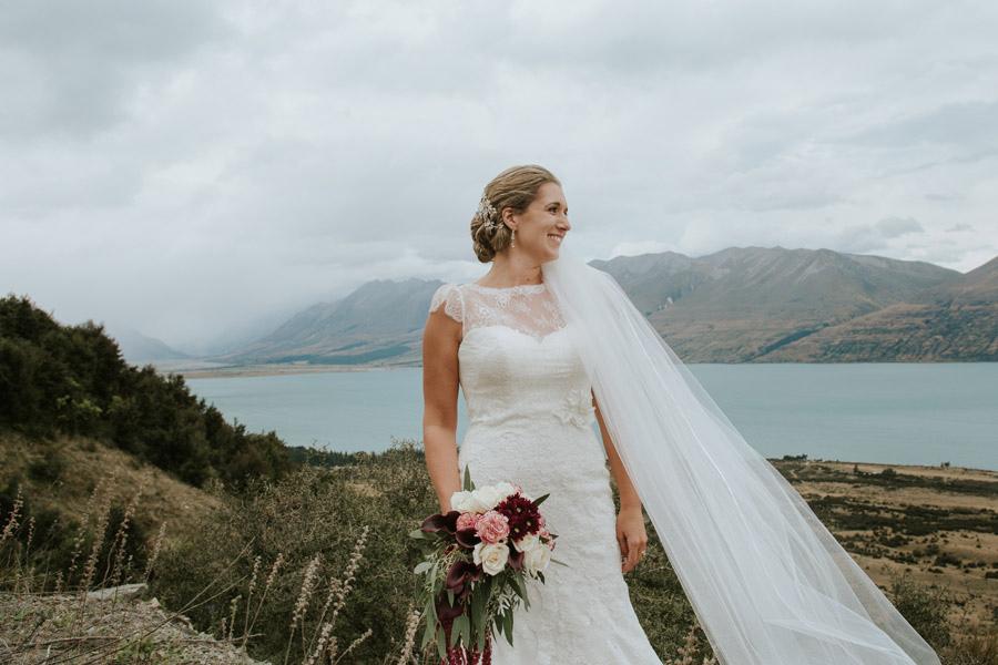 Rebecca, a stunning bride, at her Lake Ohau destination wedding.