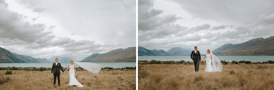Lake Ohau is a stunning location for a destination wedding in New Zealand. Beautiful images by Wanaka wedding photographers Alpine Image Company.