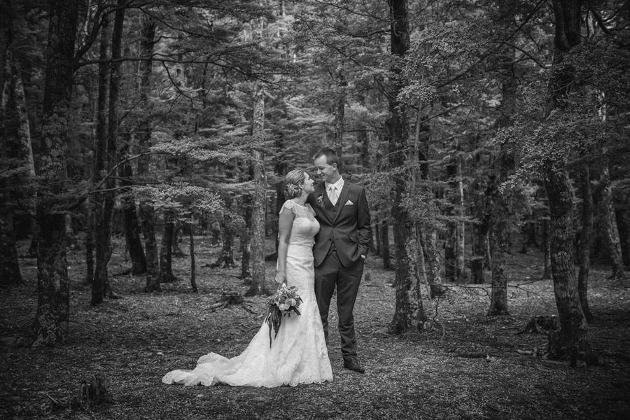 A stunning shot of the Bride and Groom from Rebecca and Matt's Lake Ohau destination wedding by Wanaka wedding photographers Alpine Image Company.