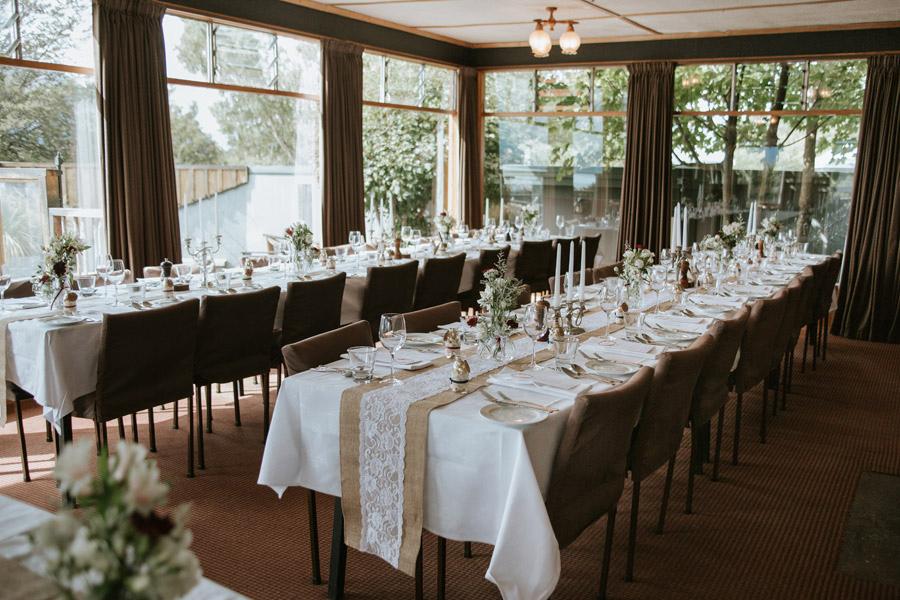 A beautiful and rustic wedding reception set up at Lake Ohau Lodge, New Zealand photographed by Wanaka wedding photographers Alpine Image Company.