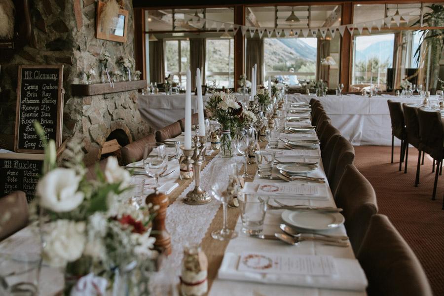 A beautiful wedding banquet set up at Lake Ohau Lodge, New Zealand captured by Wanaka wedding photographers Alpine Image Company.