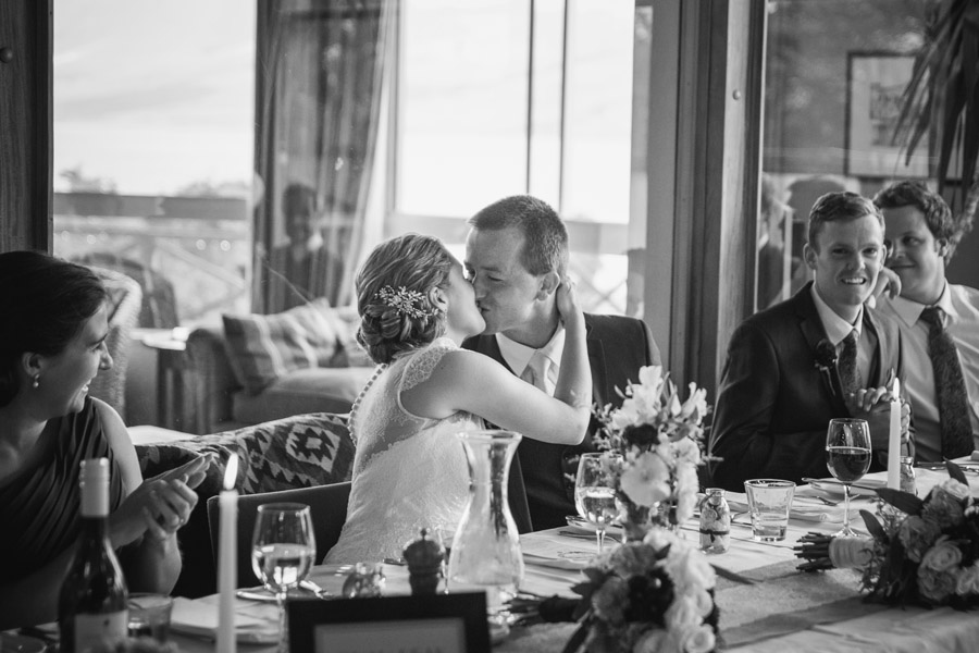 A gorgeous moment of the Bride and Groom at their wedding reception at Lake Ohau Lodge captured by Lake Ohau wedding photographers Alpine Image Company.