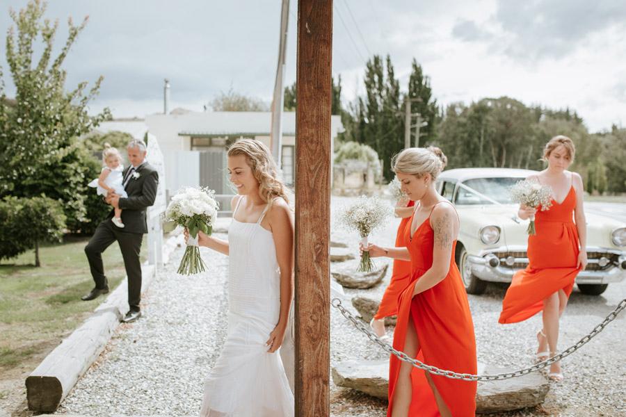 The bride just before her wedding ceremony at Luggate Pub, Wanaka, New Zealand captured by Wanaka wedding photographer Alpine Image Company.