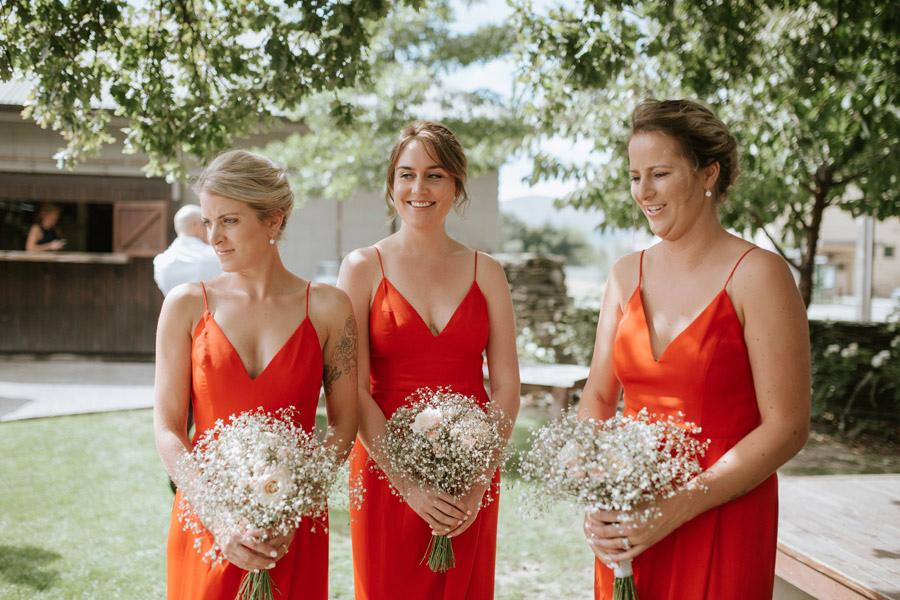 The bridesmaids looking gorgeous at Kelsey and Matt's summer wedding in Wanaka, New Zealand captured by Wanaka wedding photographers Alpine Image Company.