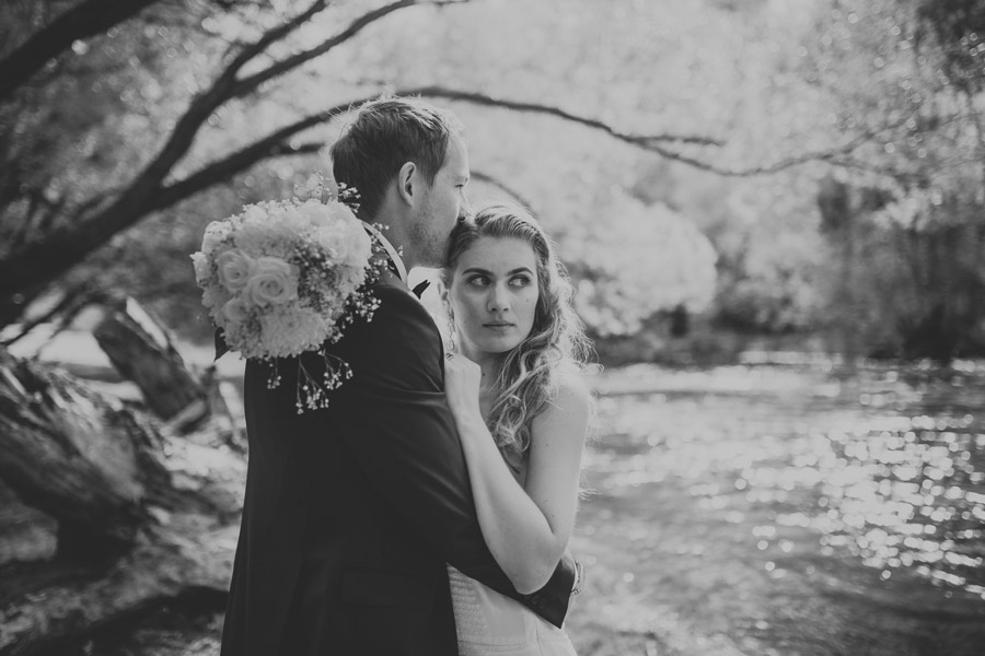 A stunning shot of the Bride and Groom from Kelsey and Matt's Wanaka wedding photographed by destination wedding photographers Alpine Image Company.