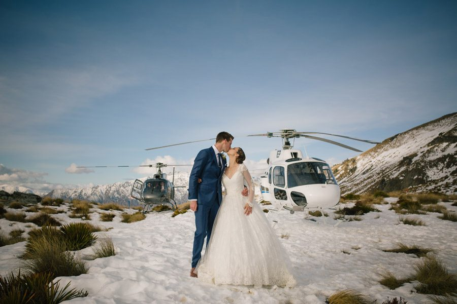 A helicopter wedding at its best