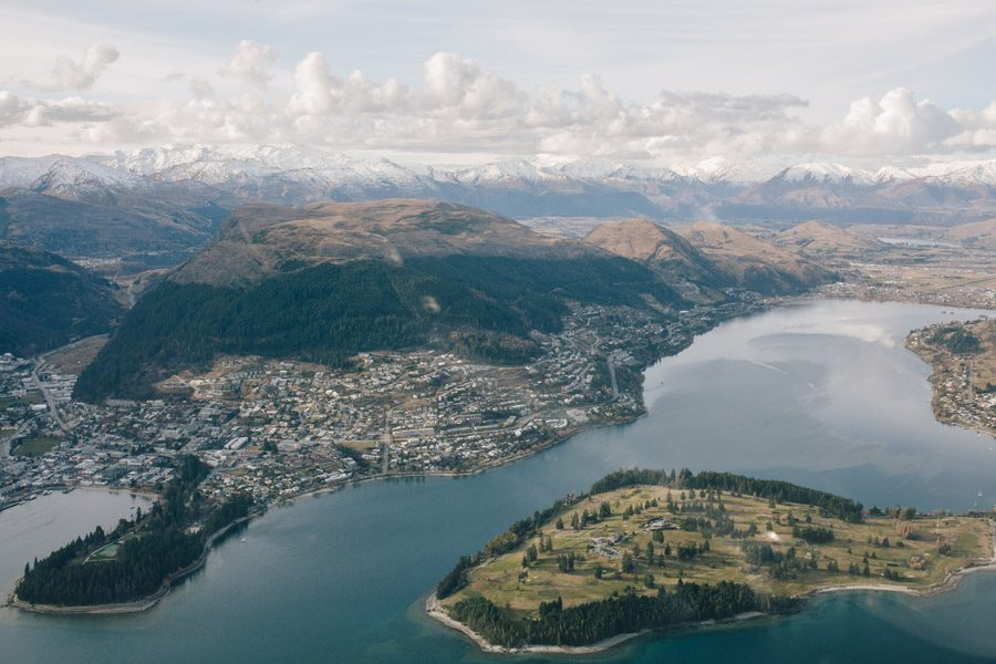 overlooking the beautiful queenstown