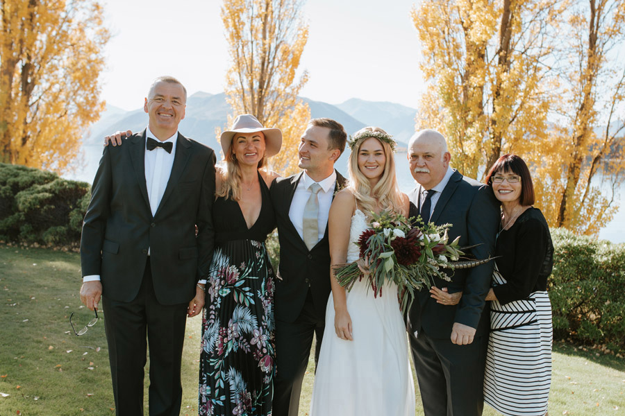 A gorgeous family photo from Estelle and Stas' Wanaka wedding day, captured by Alpine Image Company.