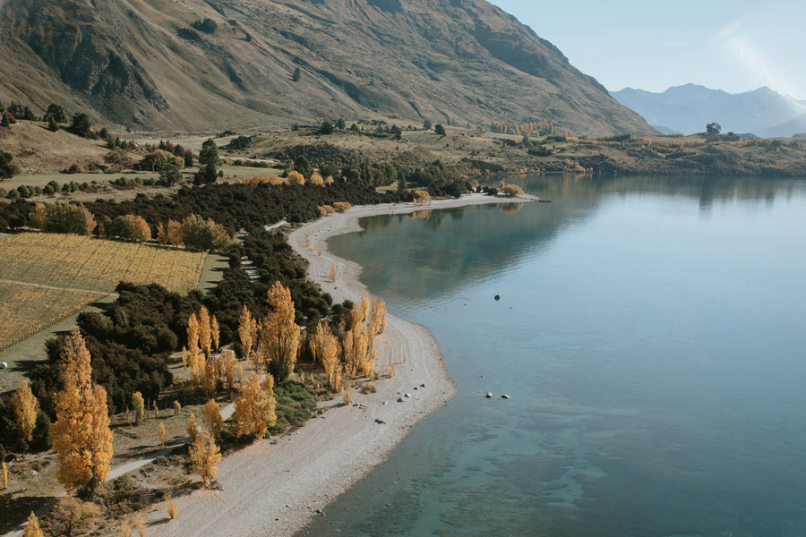 Wanaka looking gorgeous with all of the autumn colour photographed by Wanaka wedding photographer's Alpine Image Company.