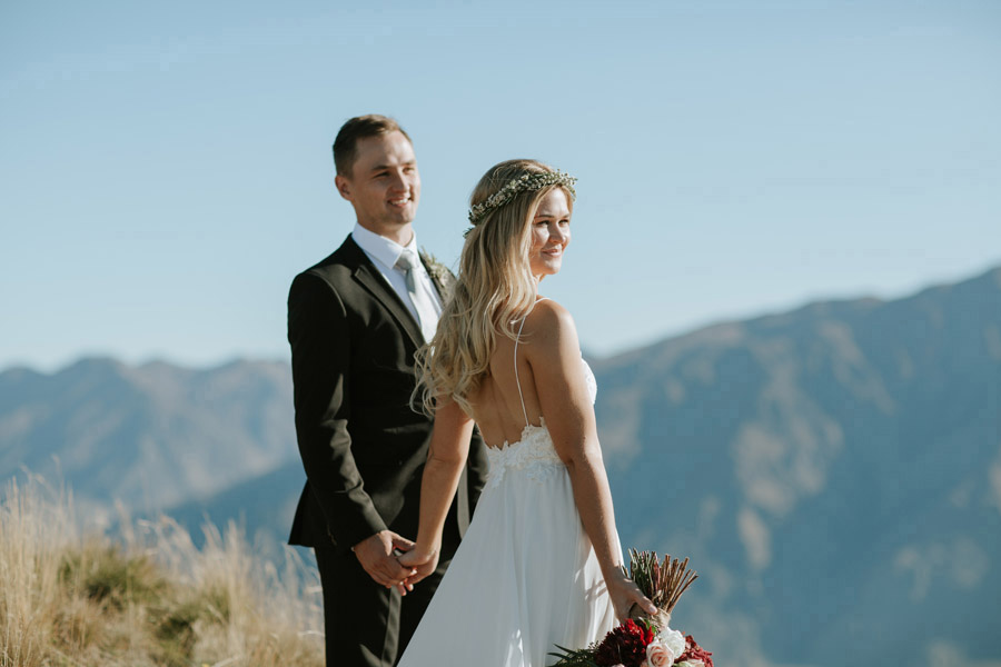 A beautiful photo of Estelle and Stas on their Wanaka wedding day, photographed by Alpine Image Company.