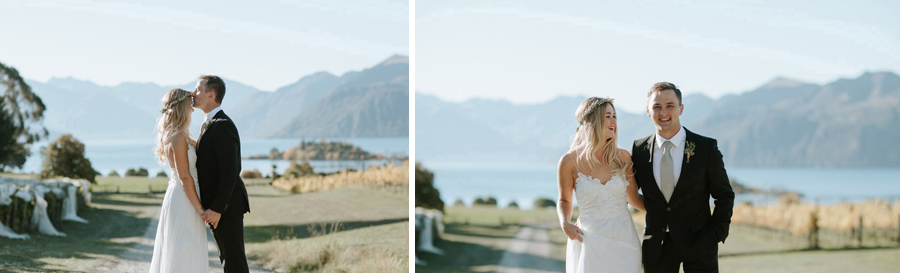 Beautiful wedding photos of the Bride and Groom on their Wanaka wedding day. Photographed by Alpine Image Company.