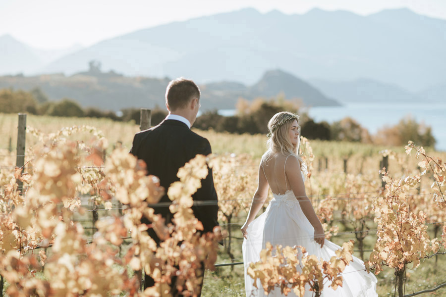 Estelle and Stas looking beautiful whilst on their location photos after their Wanaka lakeside ceremony. Photography by Alpine Image Company.