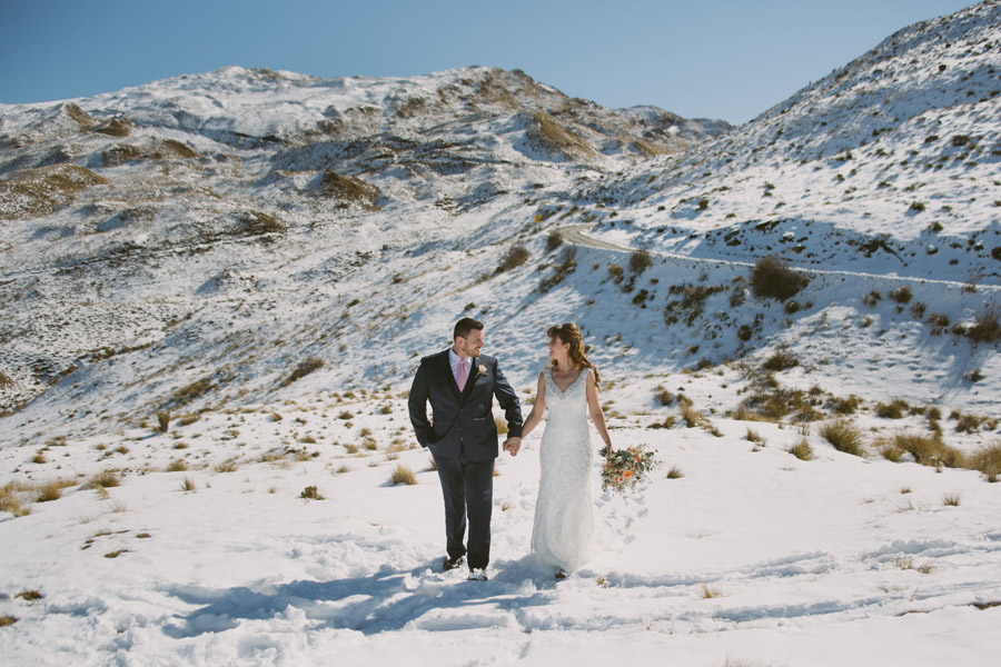 A beautiful snowy wedding day for Katie & Bernard in Queenstown, New Zealand photographerd by Queenstown wedding photographer Alpine Image Company.