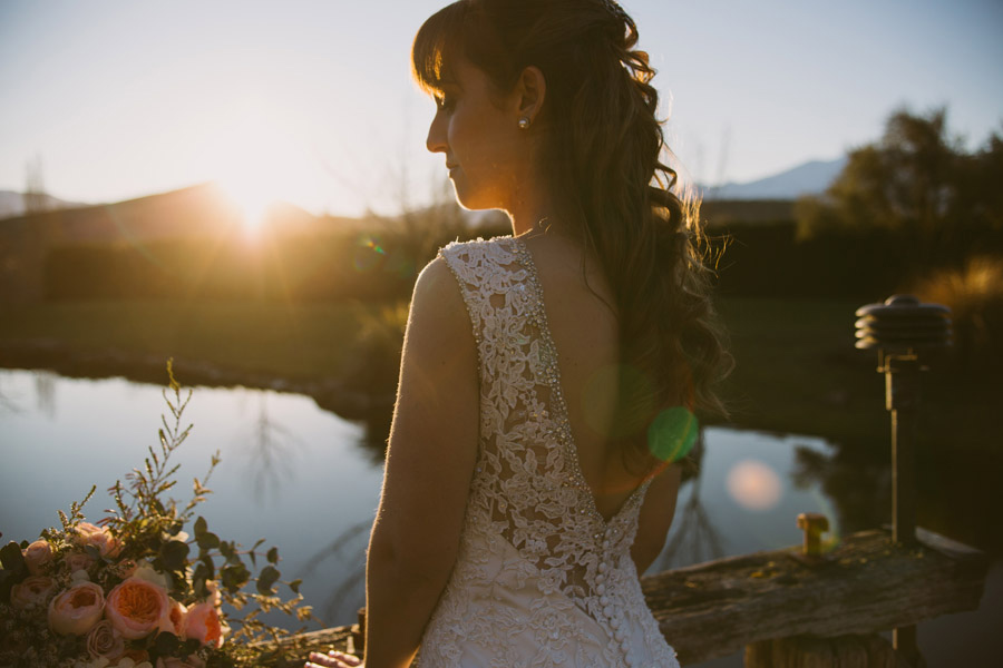Gorgeous wedding photos at sunset from Katie and Bernard's Queenstown wedding day by Wanaka wedding photographer Alpine Image Company.