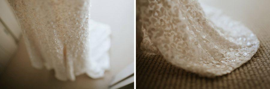 Sequin detail on a gorgeous wedding dress