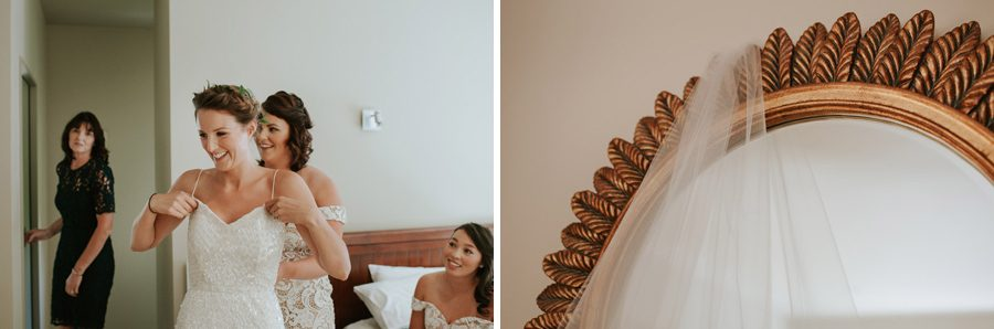 Helping the bride with the finishing touches