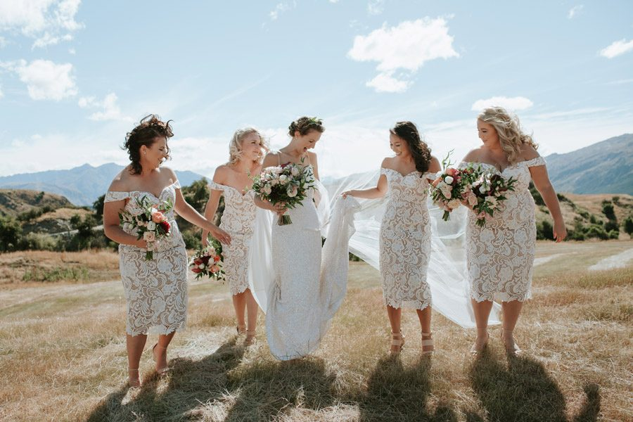 A beautiful bridal party at Mt Soho Arrowtown