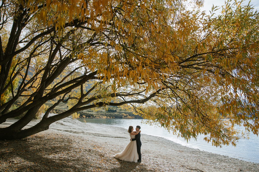 Jamie and Eric stealing a moment under the autumn leaves on their wanaka pre wedding shoot