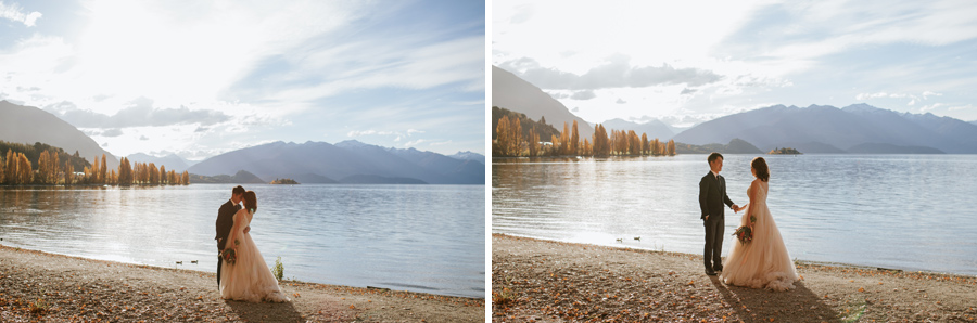 Jamie and Eric stealing a moment of quiet by the lake on their Wanaka Wedding day,