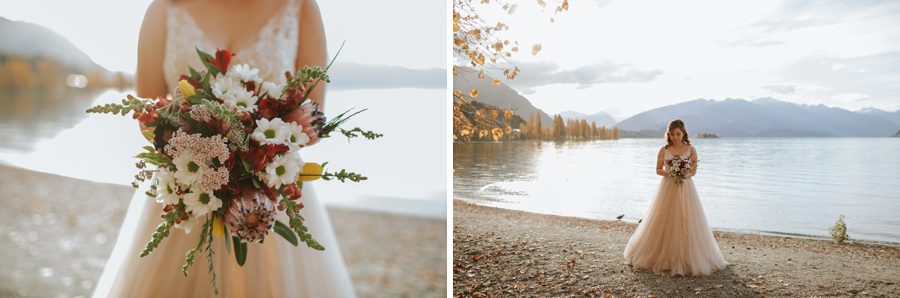 The beautiful Jamie and her hand crafted bouquet, on her Wanaka wedding day.