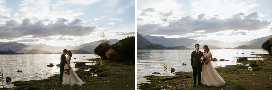 The golden hour by lake wanaka is even more perfect for Autumn weddings, like Jamie and Eric's here.