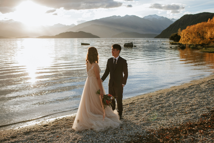 Last of the incredible Autumn light by lake Wanaka with Jamie and Eric on their wedding day