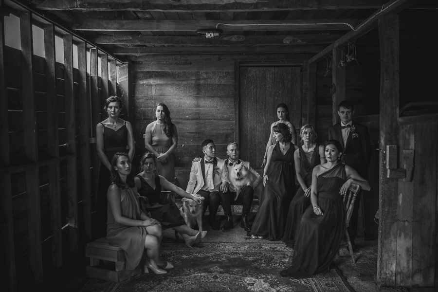 Two grooms and their bridal party pose for the camera in an old woolshed. Everyone looks serious (even the dogs!). With photography by Alpine Image Company