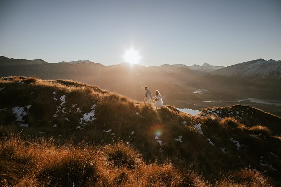 Sinead and Martin's sunset and mountaintop elopement wedding in Wanaka, New Zealand.